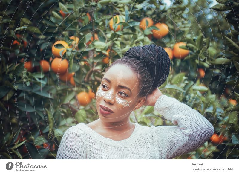 Young woman in orange plantation Nutrition Eating Organic produce Vegetarian diet Slow food Orange Lifestyle Health care Healthy Eating Wellness Well-being