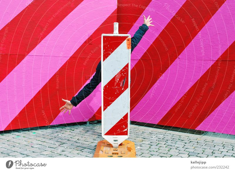 Human being Hand Red Pink Arm Signs and labeling Stand Good Signage Construction site Advice Diagonal Hide Direction Economy Life