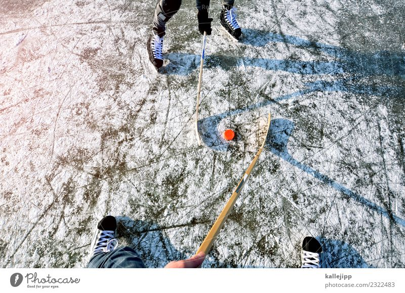 Being there is everything Winter Snow Winter vacation Sports Winter sports Human being 2 Environment Nature Climate Pond Lake Playing Ice hockey Adversary