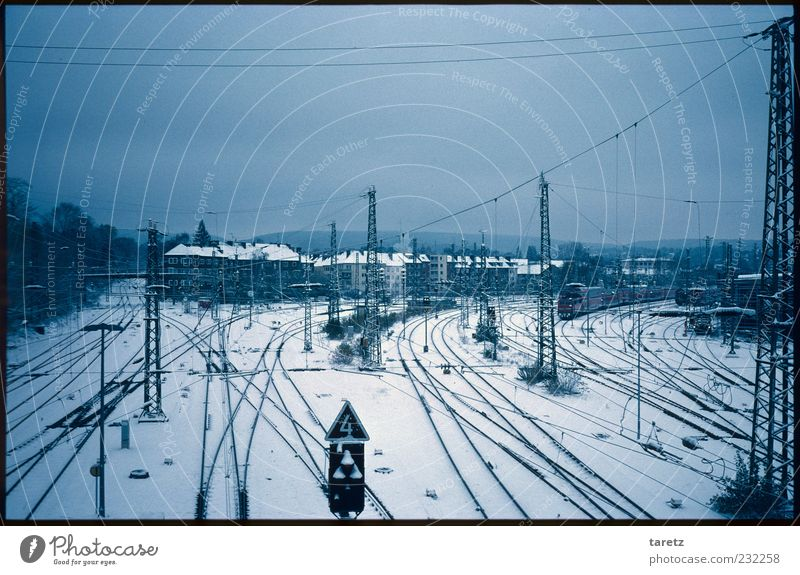 The big picture Aachen House (Residential Structure) Logistics Winter Switchyard Train station Overhead line Empty Town Dark Cold Bad weather