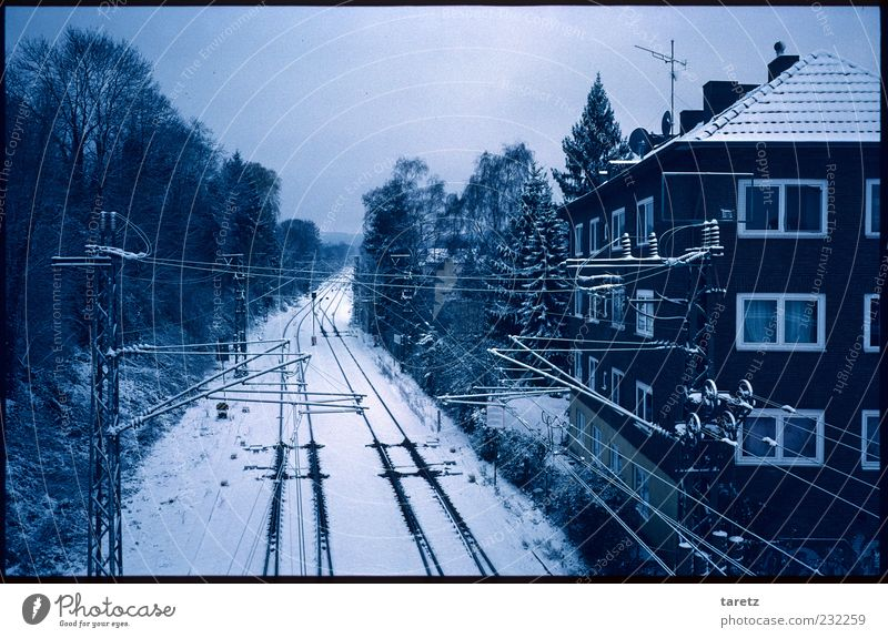 Tree Winter House (Residential Structure) Calm Far-off places Cold Snow Dark Facade Car Window Empty Railroad Logistics Railroad tracks Traffic infrastructure