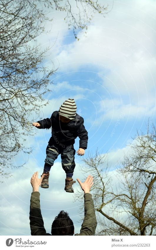 Human being Child Sky Man Hand Joy Clouds Adults Playing Family & Relations Infancy Flying Trust Catch Toddler Father