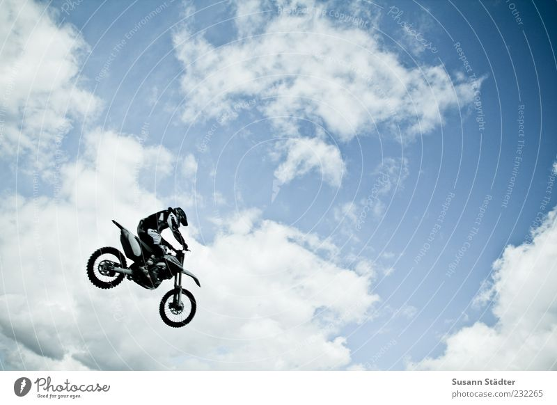 Man Nature Sky Clouds Sports Jump Freedom Air Adults Flying Aviation Driving Motorcycle Sporting event Beautiful weather Sportsperson