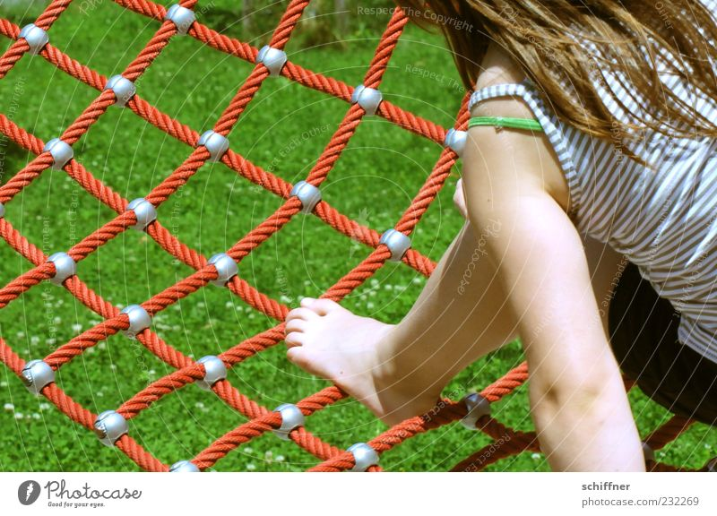 Human being Child Girl Summer Meadow Playing Hair and hairstyles Legs Feet Infancy Leisure and hobbies Arm Lawn Net Joie de vivre (Vitality) Balance