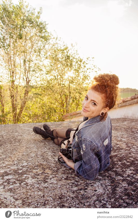 Young redhead woman enjoying the sunset Lifestyle Style Joy Hair and hairstyles Healthy Wellness Vacation & Travel Adventure Freedom Summer Summer vacation Sun