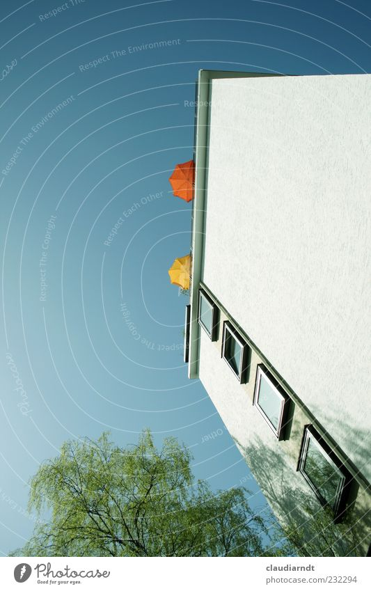 sun deck Braunschweig House (Residential Structure) High-rise Building Wall (barrier) Wall (building) Facade Window Roof Relaxation Sunshade Roof terrace Tree