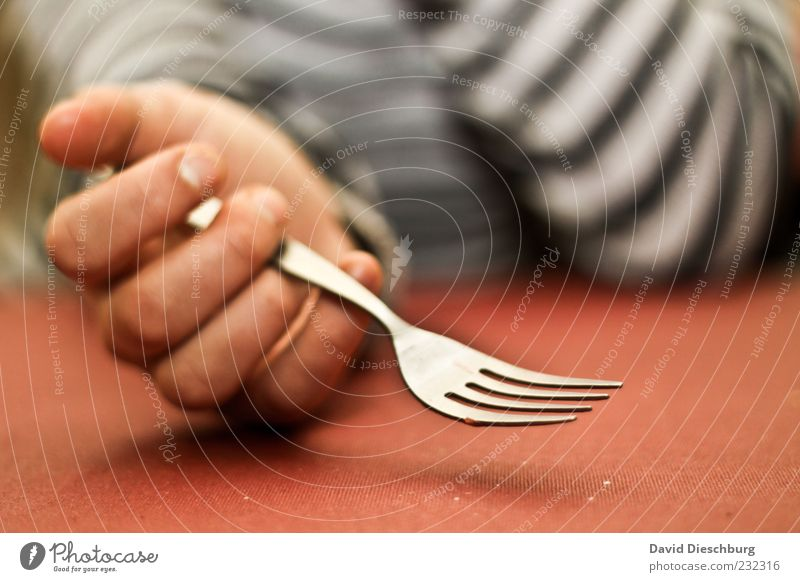 In waiting position Nutrition Human being Hand Fingers 1 Red Fork Empty Wait Appetite Growling stomach Table To hold on Grasp Cutlery Metal Colour photo