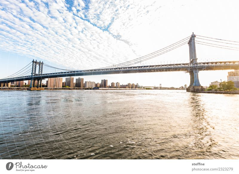 Bridge day: Manhattan Town New York City Brooklyn Manhattan Bridge East River Beautiful weather Colour photo Copy Space bottom Wide angle