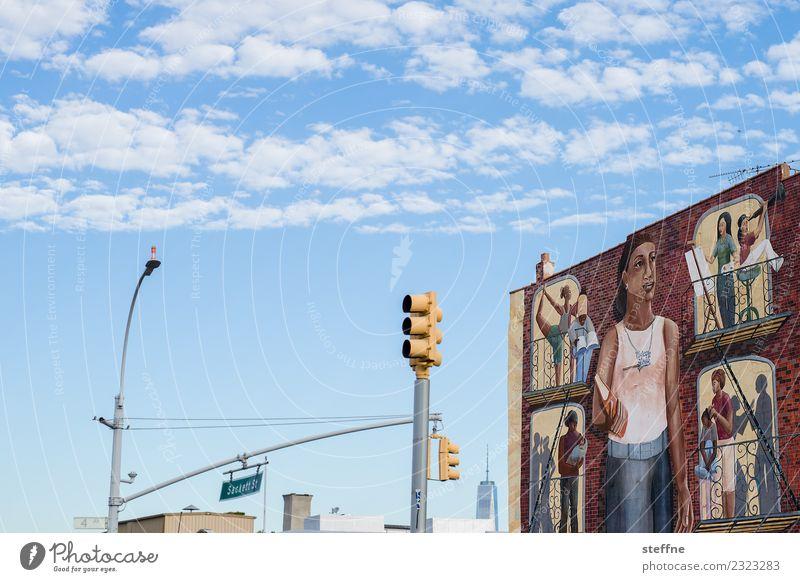 Town Graffiti City life Transport USA Skyline New York City Mural painting Brooklyn