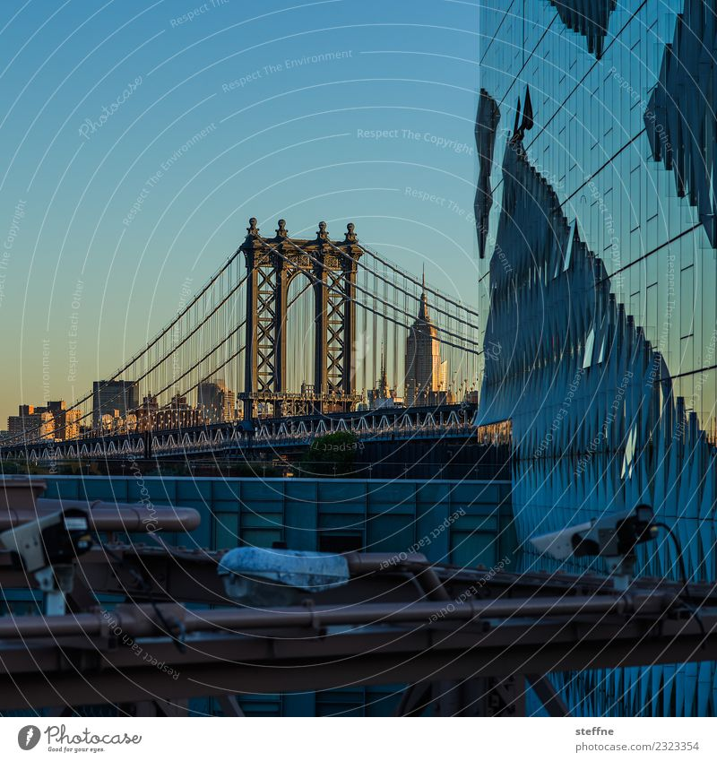 View of Manhattan Bridge from Brooklyn Tourist Attraction Landmark Town New York City Empire State building Sunrise Colour photo Exterior shot Deserted