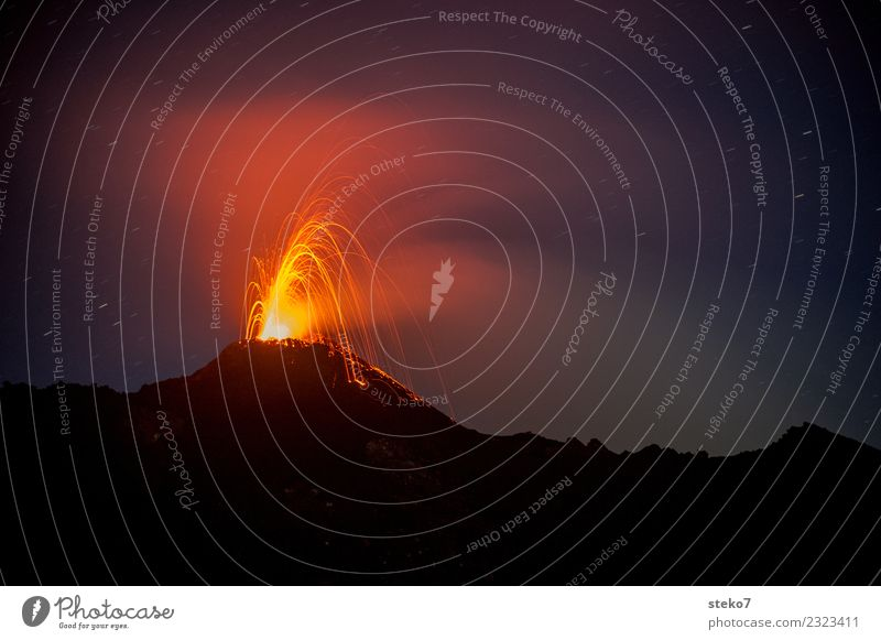 volcanic eruption Volcano Pacaya Threat Exotic Hot Orange Red Black Adventure Chaos Energy Change Destruction Eruption Lava Guatemala Volcanic crater Disaster