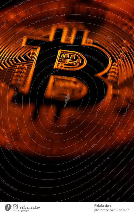 #A# Golden Bitcoin Technology Crisis Art Esthetic Close-up Cryptocurrency Money Copper b Media hype Capitalism Symbols and metaphors Detail Coin Sell