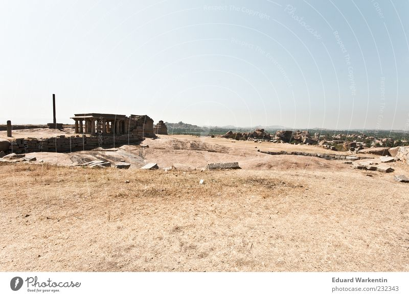 Temple Mount Vacation & Travel Religion and faith Past India Hampi Blue Brown Stone Rock Colour photo Exterior shot Deserted Copy Space top Day Wide angle