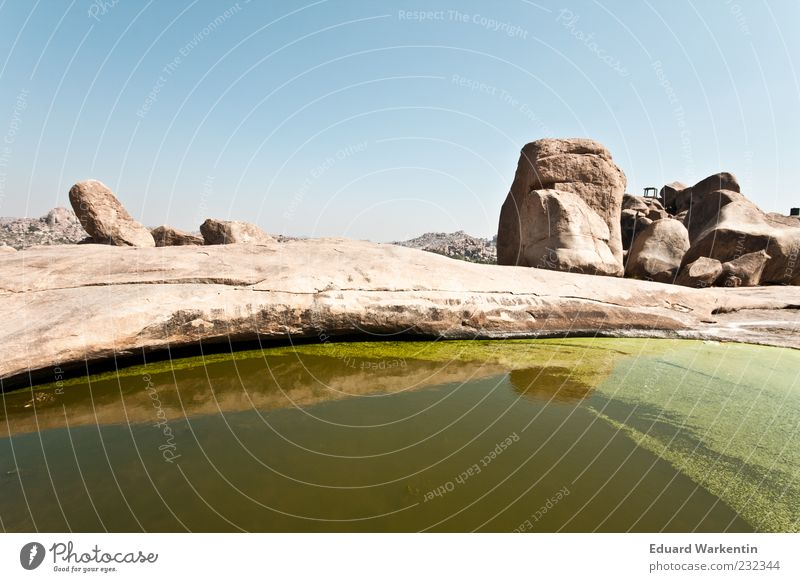 Green Lake Landscape Water Nature India Hampi Stone Rock Brown Sky Colour photo Exterior shot Copy Space top Day Puddle Deserted