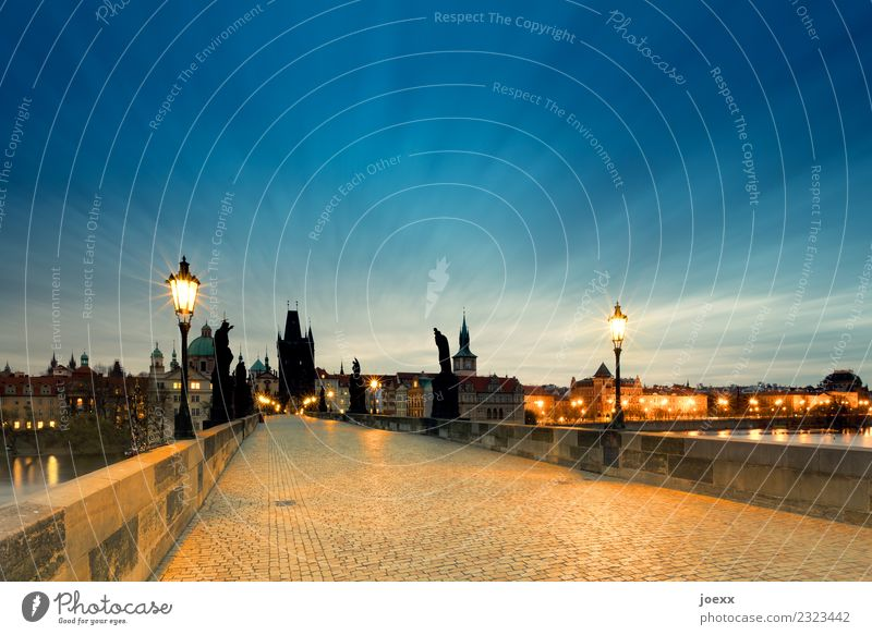 Empty Charles Bridge in Prague at twilight, long exposure Lantern Old town Capital city Czech Republic Manmade structures Tourist Attraction Historic