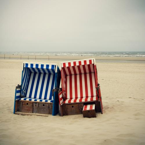 Double Lottchen Vacation & Travel Tourism Beach Ocean Nature Landscape Elements Sand Water Bad weather Coast North Sea Relaxation Beach chair Seating Stripe