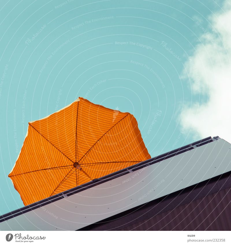 balkonies Vacation & Travel Summer Sky Clouds Beautiful weather Balcony Blue Orange Sunshade Weather protection Sunlight Colour photo Multicoloured