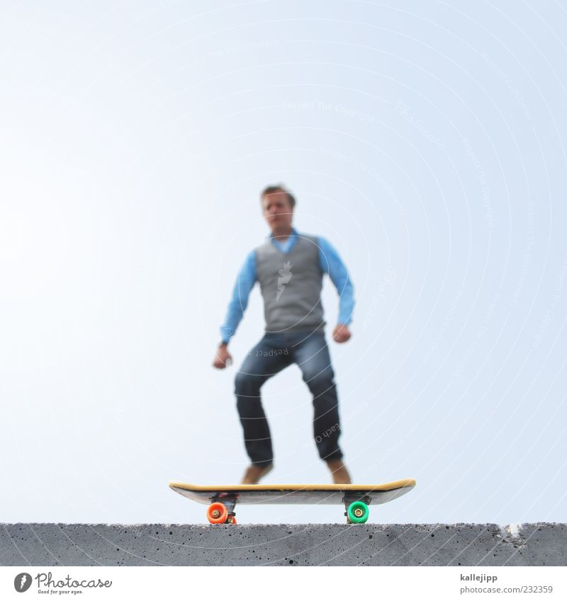 Human being Man Adults Life Sports Playing Small Style Wall (barrier) Leisure and hobbies Masculine Perspective Lifestyle Driving Jeans Fitness