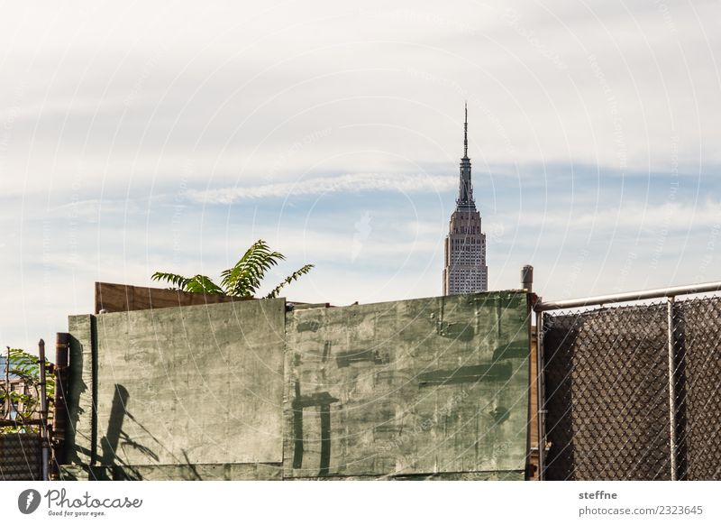 Empire State Building behind a wall Skyline Town New York City Manhattan Williamsburg Brooklyn Empire State building Silhouette Fence Wall (building)