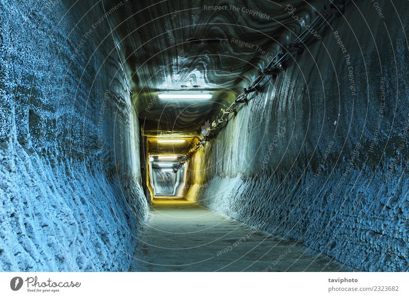 illuminated tunnel in mine Tourism Industry Earth Rock Architecture Lanes & trails Old Dirty Dark Creepy Historic Black salt underground Geology mineral