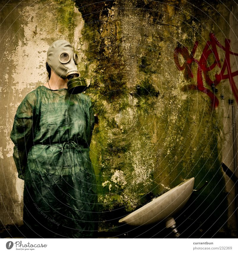 Green Colour Graffiti Stone Fear Protection Creepy Bizarre Moss Weathered Gray (horse) Sink Apocalyptic sentiment Respirator mask Living thing