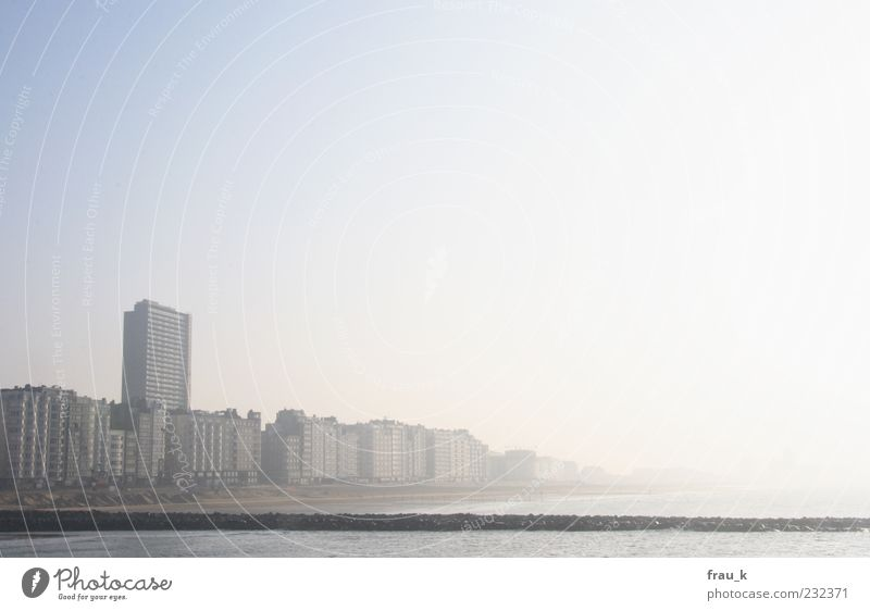 City Sun Ocean Loneliness House (Residential Structure) High-rise Gloomy Skyline Building Cloudless sky Belgium Oostende