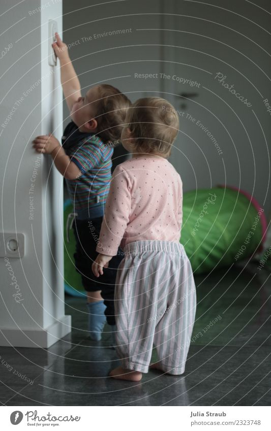 Human being Green House (Residential Structure) Girl Feminine Boy (child) Small Gray Pink Friendship Masculine Door Growth Infancy Stand Creativity