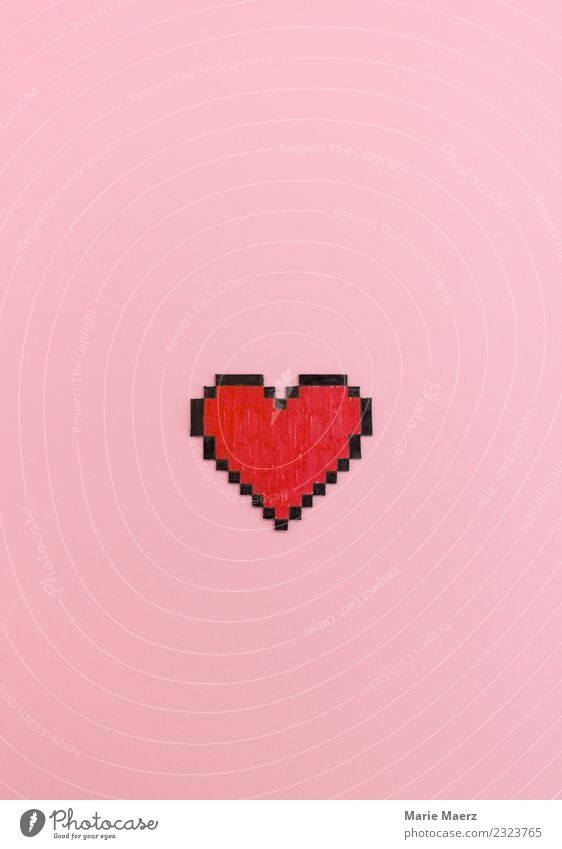 Red painted pixel heart shape on pink background. Lifestyle Happy Flirt Valentine's Day Computer Technology Heart Communicate Love Cool (slang) Modern Nerdy