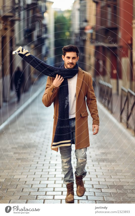 Young man wearing winter clothes in the street. Lifestyle Elegant Style Beautiful Hair and hairstyles Winter Human being Masculine Youth (Young adults) Man