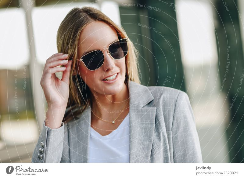Beautiful young blonde woman with sunglasses Lifestyle Style Hair and hairstyles Human being Feminine Young woman Youth (Young adults) Woman Adults 1