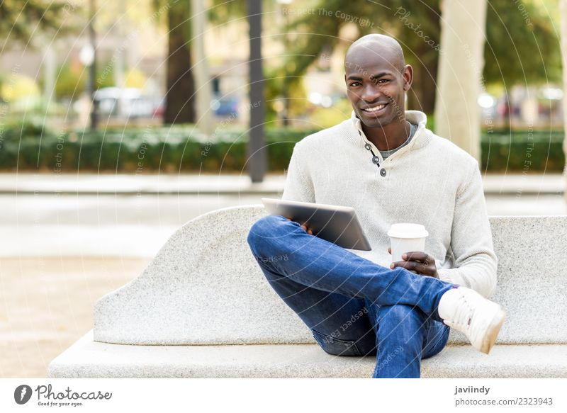 Black man with tablet computer and take away coffee Coffee Tea Lifestyle Happy Beautiful Face Computer Technology Human being Young man Youth (Young adults) Man