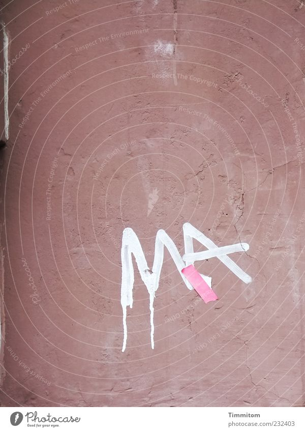 Wall (building) Graffiti Wall (barrier) Facade Dirty Characters Letters (alphabet) Transience Simple Mysterious Adhesive plaster