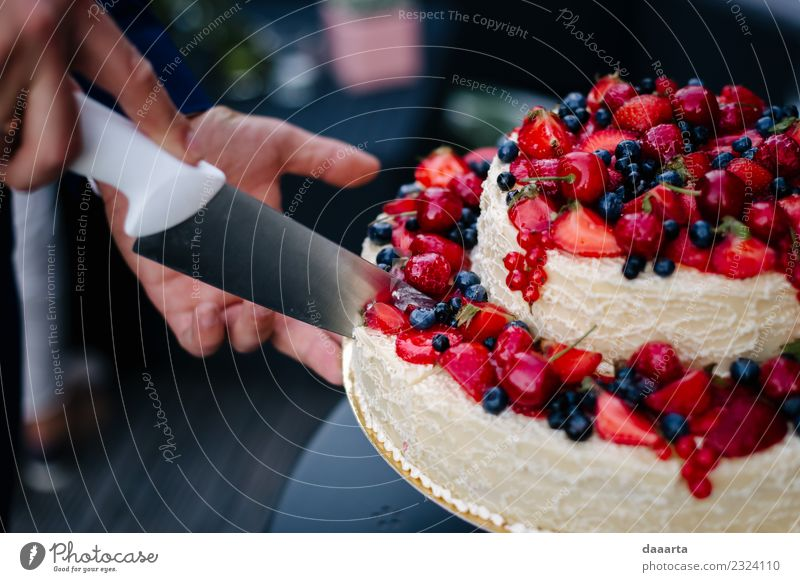 berry cake II Food Fruit Cake Dessert Candy Cherry Blueberry Strawberry Berries Banquet Plate Knives Lifestyle Elegant Style Design Joy Harmonious