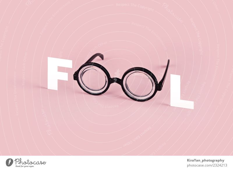 Funny goggles with round glasses on pink background Style Joy Entertainment Eyes Fashion Accessory Eyeglasses Plastic Modern Pink Colour Idea Surrealism letter