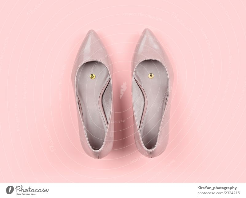 Pair of classic women's beige shoes with pushpin Lifestyle Joy Health care Feasts & Celebrations Fashion Footwear Shopping Funny Pink Colour Idea Surrealism