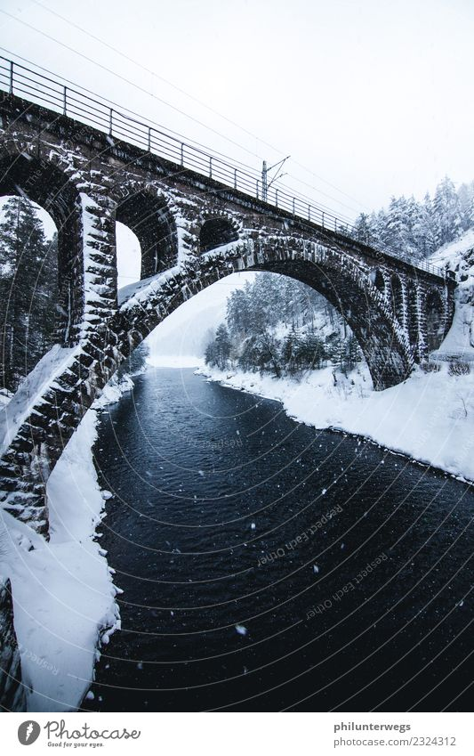 Railway bridge over river at snowfall, winter Norway Vacation & Travel Trip Adventure Far-off places Freedom Expedition Environment Nature Landscape Air Water