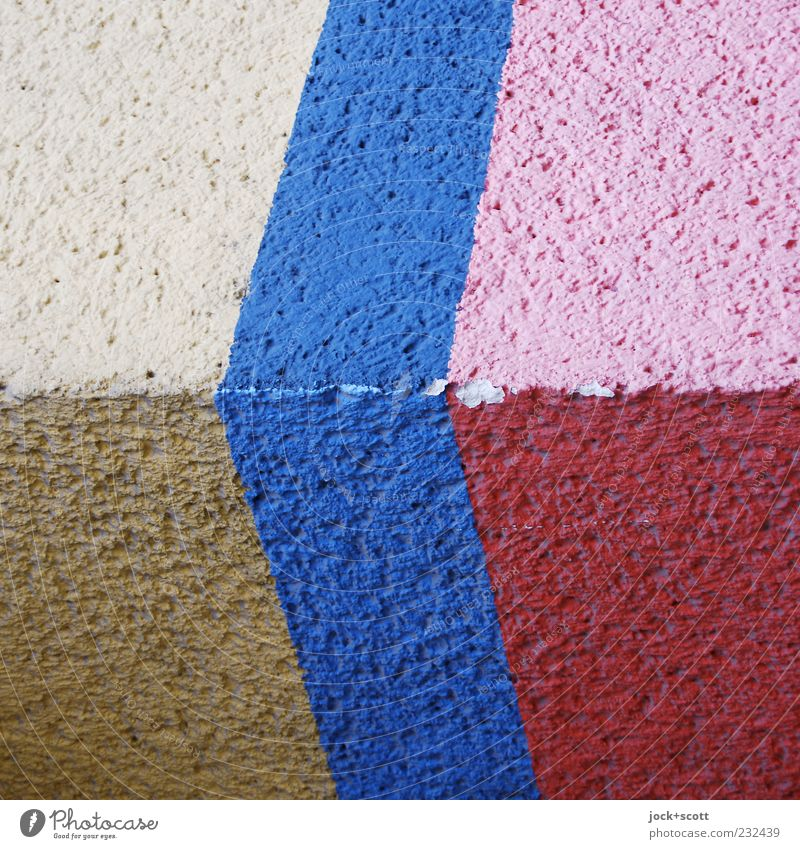 Chupze Wall (building) Decoration Stripe Blue Brown Pink Red White Colour Flaked off Coat of paint Surface structure Rough Canceled Uneven Ravages of time