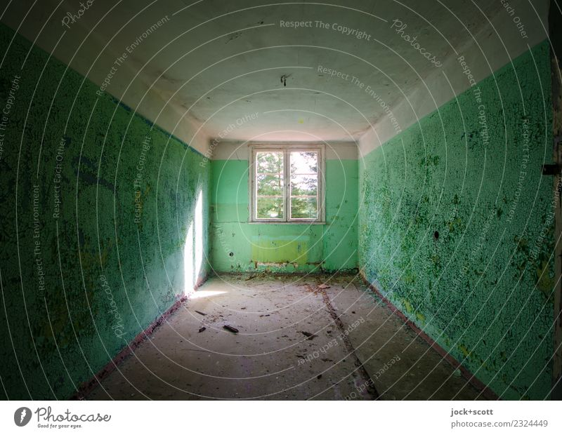 Space seems lost Ruin Architecture Wall (building) Window Room Flare Retro Green Apocalyptic sentiment Symmetry Transience Change lost places Weathered