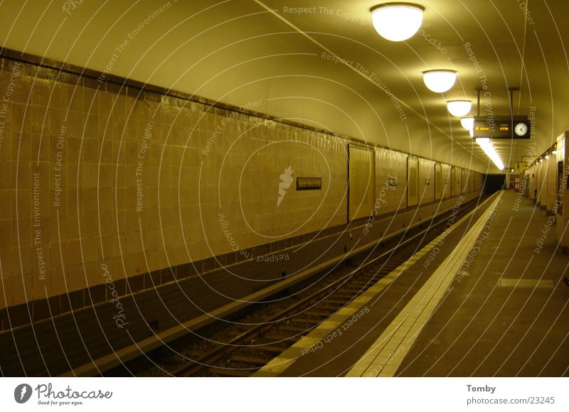 Berlin Underground Commuter trains Railroad tracks Platform Tunnel Night Transport