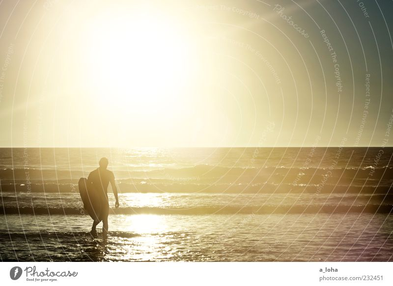 to the sea Lifestyle Aquatics Human being Masculine Young man Youth (Young adults) 1 Nature Elements Water Cloudless sky Sunrise Sunset Beautiful weather Waves