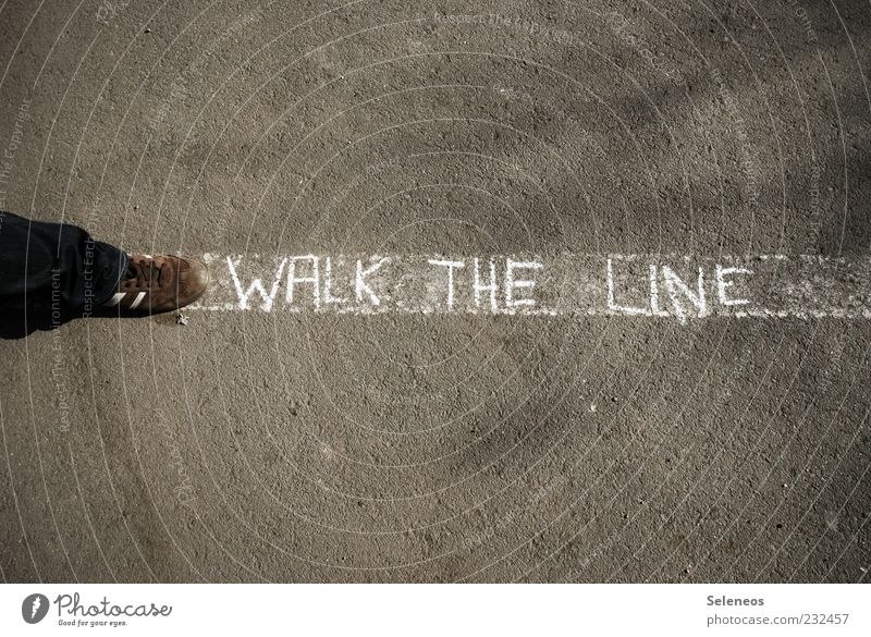 Walk the line! Leisure and hobbies Playing Human being Feet Pedestrian Street Footwear Sign Characters Line Stripe Going Walking Demand Chalk White Colour photo