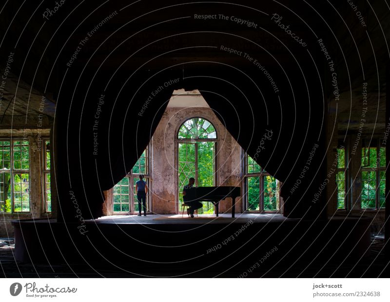 Time for space-time Woman Man Stage Piano Pianist Summer Ruin Sanitarium Window Listen to music Sit Stand Exceptional Historic Emotions Moody Contentment