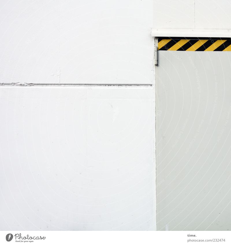 White Black Yellow Gray Bright Line Door Background picture Facade Closed Industry Signage Entrance Warning label Barrier Warehouse