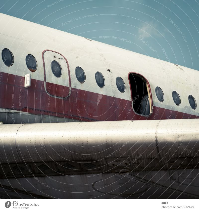 Sky Vacation & Travel Blue Old White Red Airplane window Open Door Aviation Broken Retro Wing End Nostalgia