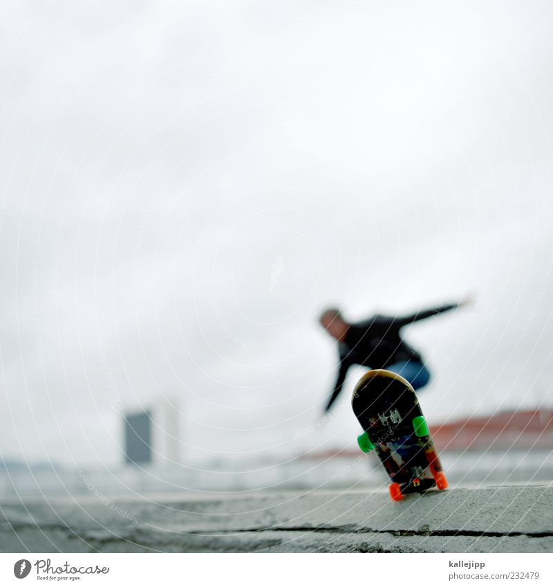 Human being Man Adults Sports Playing Movement Wall (barrier) Jump Style Masculine Action Perspective Lifestyle Corner Skateboarding Balance