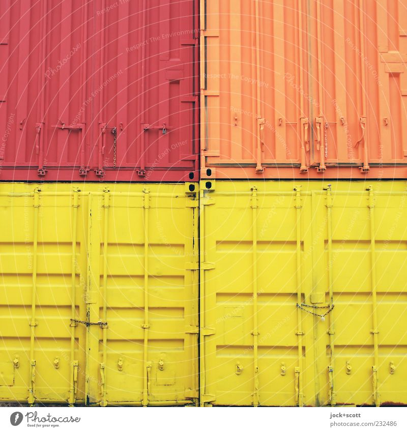Red Yellow Line Metal Orange Arrangement Closed Simple Logistics Firm Storage Sharp-edged Chain Symmetry Container Play of colours