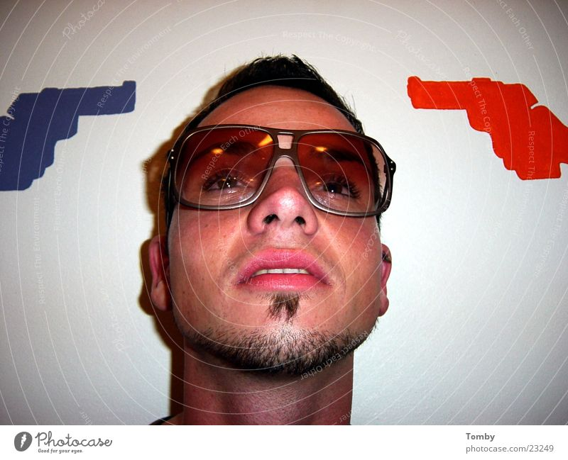 Man Face Cool (slang) Eyeglasses Facial hair Handgun Face of a man
