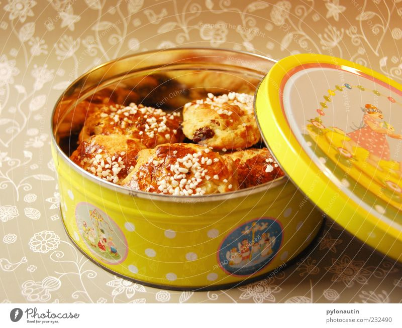 bun tin Food Dough Baked goods Cake Candy Nutrition Bowl Tin Fragrance Yellow Gold Gray Colour photo Interior shot Artificial light Cookie tin Keep Self-made