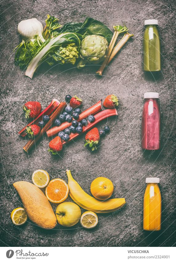 Green, yellow and red smoothie with ingredients Food Vegetable Fruit Nutrition Organic produce Vegetarian diet Diet Beverage Cold drink Juice Bottle Shopping