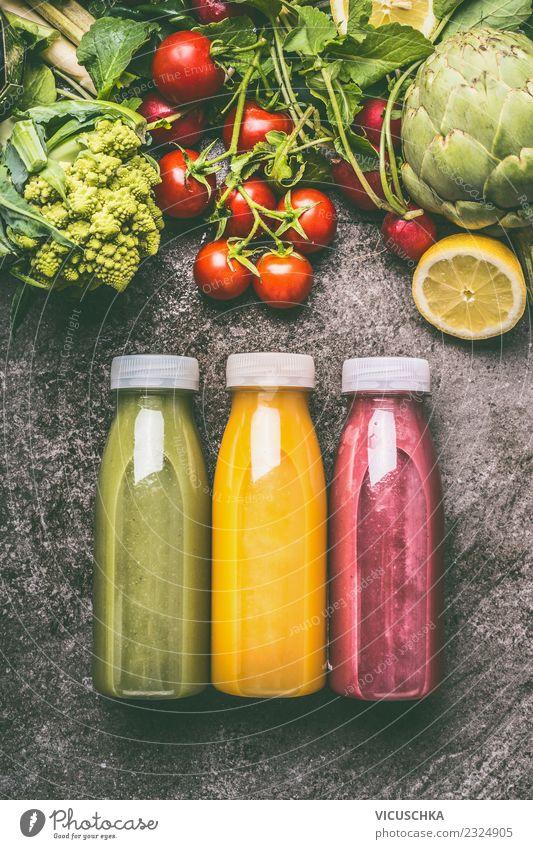 Colorful Smoothie Bottles Food Vegetable Fruit Beverage Cold drink Lemonade Juice Style Design Healthy Healthy Eating Yellow Milkshake Food photograph
